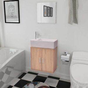 Móveis casa de banho 3 pçs e conjunto de bacia bege