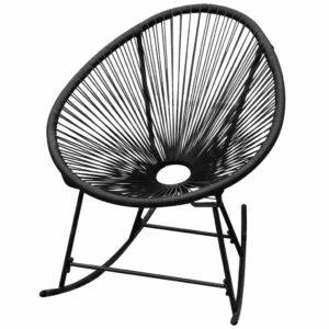 Cadeira de baloiço para jardim em vime, preto