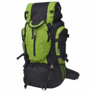 Mochila de caminhada XXL 75 L preto e verde