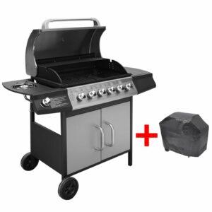 Grelhador/barbecue a gás 6+1 queimadores preto/prateado