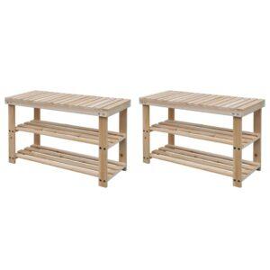 Sapateira 2-em-1 com banco 2 pcs madeira maciça