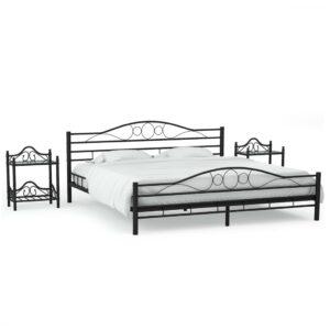 Estrutura cama c/ 2 mesas de cabeceira metal preto 180x200cm