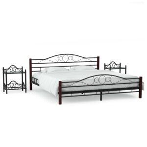 Estrutura cama c/ 2 mesas de cabeceira metal preto 140x200cm