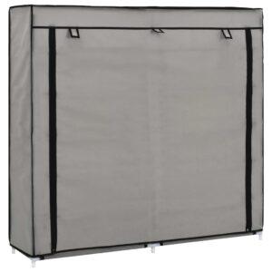 Sapateira com cobertura 115x28x110 cm tecido cinzento