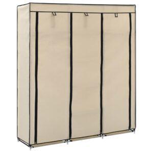 Roupeiro c/ compartimentos e varões 150x45x175 cm tecido creme