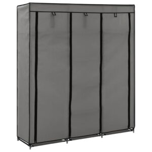 Roupeiro c/ compartimentos e varões 150x45x175 cm tecido cinza