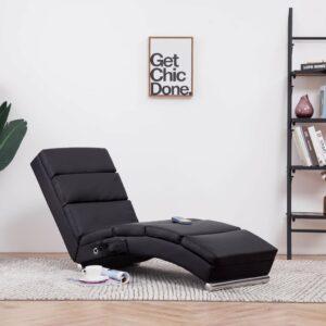 Chaise longue de massagens couro artificial castanho