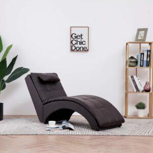 Chaise longue com almofada couro artificial castanho