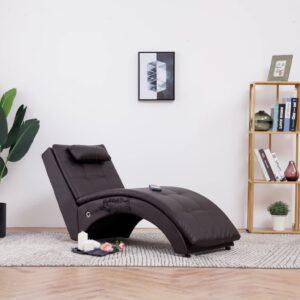 Chaise longue de massagem c/ almofada couro artificial castanho