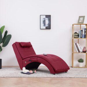 Chaise longue massagem c/ almofada couro artif. vermelho tinto