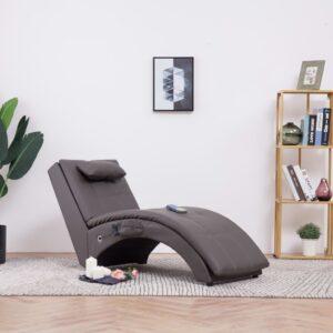 Chaise longue de massagem c/ almofada couro artificial cinzento