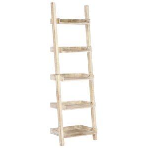 Prateleira escada 75x37x205 cm madeira mangueira maciça branco
