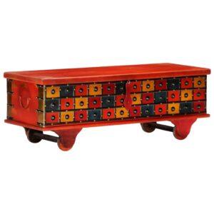 Caixa de arrumação 110x40x40 cm madeira acácia maciça vermelho