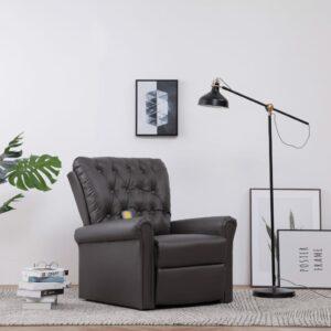 Cadeira massagens reclinável elétrica couro artificial cinzento
