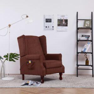 Cadeira de massagens reclinável elétrica tecido castanho