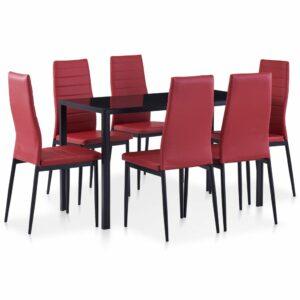 Conjunto de jantar 7 pcs vermelho tinto