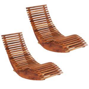 Espreguiçadeiras de baloiçar 2 pcs madeira de acácia