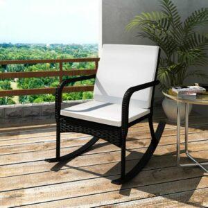 vidaXL Cadeira de baloiço para jardim em vime, preto
