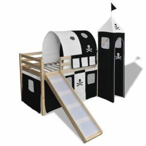 vidaXL Cama alta infantil c/ escorrega e escada madeira preto e branco