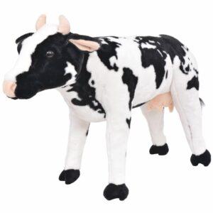 vidaXL Brinquedo de montar vaca peluche preto e branco XXL