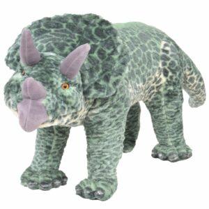 vidaXL Brinquedo de montar dinossauro triceratops peluche verde XXL