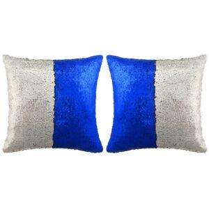 vidaXL Conj. almofadas c/ lantejoulas 2 pcs 45×45 cm azul e prateado