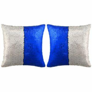 vidaXL Conj. almofadas c/ lantejoulas 2 pcs 60×60 cm azul e prateado