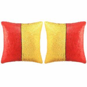 vidaXL Conj. almofadas c/ lantejoulas 2 pcs 45x45cm vermelho e dourado