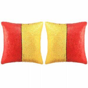 vidaXL Conj. almofadas c/ lantejoulas 2 pcs 60x60cm vermelho e dourado