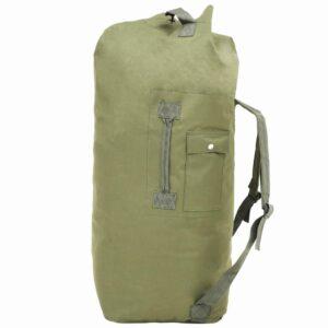 vidaXL Saco de pano estilo militar 85 L verde azeitona