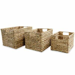 vidaXL Conjunto cestos de arrumação 3 pcs jacinto de água