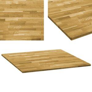 vidaXL Tampo de mesa madeira de carvalho maciça quadrado 23 mm 80x80cm