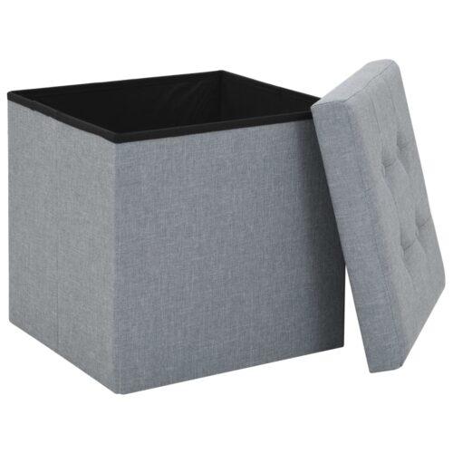 Bancos arrumação 2 pcs 38x38x38 cm linho falso cinzento-claro