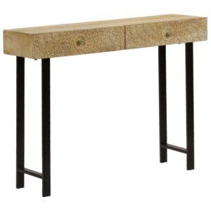 vidaXL Mesa consola madeira de mangueira maciça 102x30x79 cm
