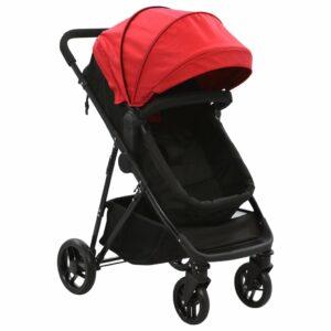 vidaXL Carrinho de bebé/berço 2 em 1 aço vermelho e preto