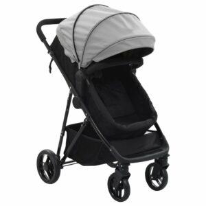 vidaXL Carrinho de bebé/berço 2 em 1 aço cinzento e preto