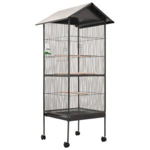 vidaXL Gaiola para pássaros com telhado 66x66x155 cm aço cinzento