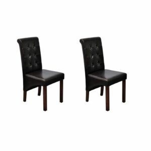 vidaXL Cadeiras de jantar 2 pcs couro artificial castanho