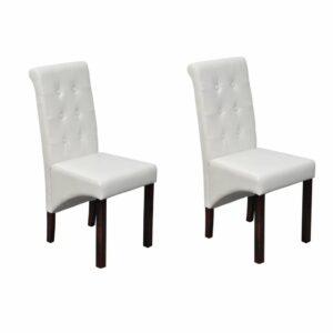 vidaXL Cadeiras de jantar 2 pcs couro artificial branco