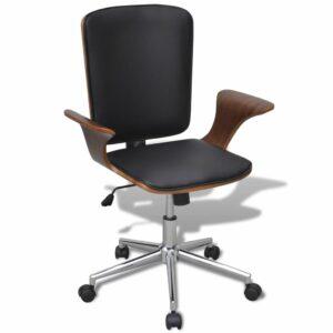 Cadeira de escritório giratória, estofada em couro artificial