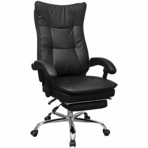 vidaXL Cadeira de escritório reclinável com apoio braços, preto