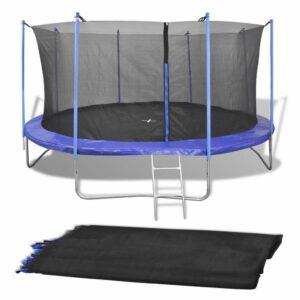 vidaXL Rede de segurança PE preta p/ trampolim redondo 3,96 m