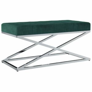 vidaXL Banco 97 cm veludo e aço inoxidável verde