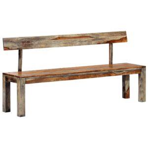 vidaXL Banco 160 cm madeira de sheesham maciça cinzento