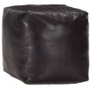 vidaXL Pufe 40x40x40 cm couro de cabra genuíno preto