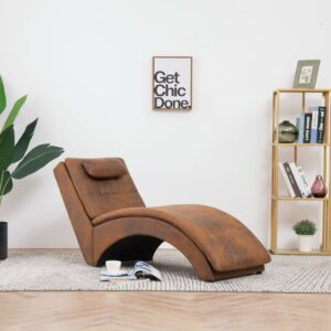 vidaXL Chaise longue com almofada camurça artificial castanho