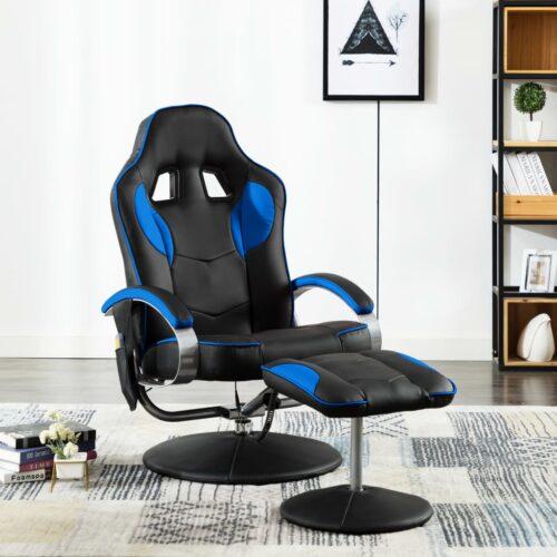 vidaXL Cadeira massagens elétrica c/ apoio pés couro artificial azul