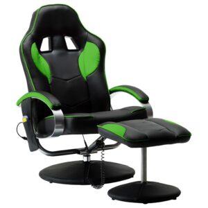 Cadeira massagens elétrica c/ apoio pés couro artificial verde