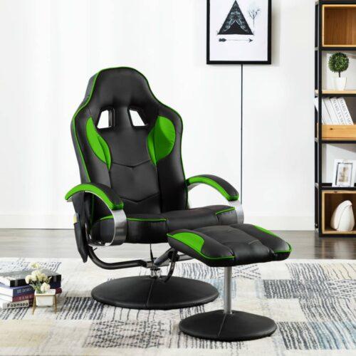 vidaXL Cadeira massagens elétrica c/ apoio pés couro artificial verde