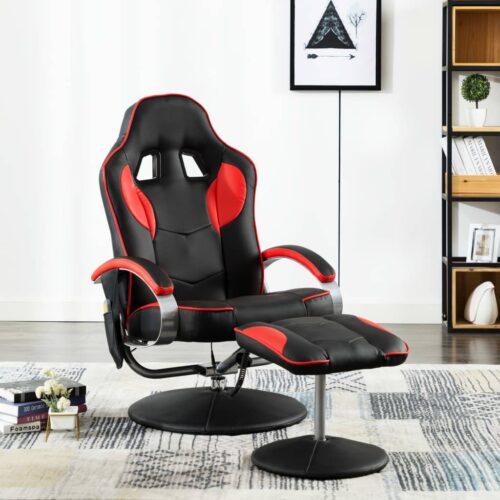 vidaXL Cadeira massagens elétrica c/ apoio pés couro artif. vermelho
